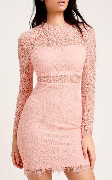 24+ Pink lace long sleeve dress info