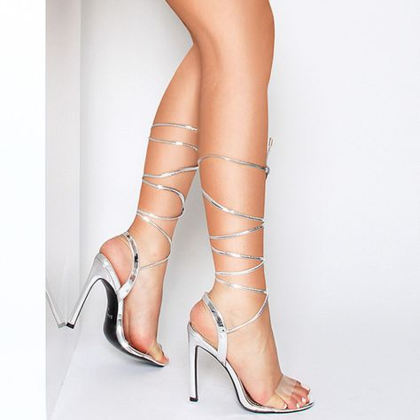 9c8aa04d91 Ella Silver Metallic Clear Lace Up Heels : Simmi Shoes