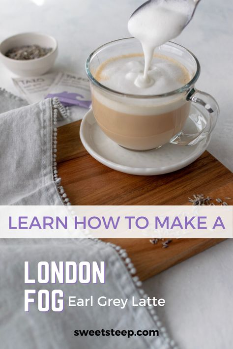 Quick and easy London Fog Latte recipe. See how simple it is to make an earl grey tea latte using tea, steamed milk and vanilla syrup like Starbucks. Latte Macchiato, Chai Latte, Starbucks Latte, Starbucks London, Almond Milk Latte, Coffee Coffee, Latte Art, London Fog Recipe, London Fog Tea Latte