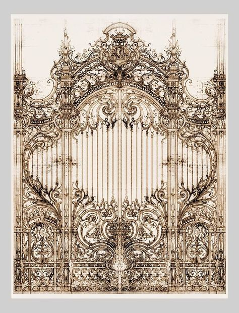 30 Wrought Iron Pencil Drawing Ideas - New Architecture Antique, Architecture Details, Iron Gate Design, Wrought Iron Gates, Door Design, Concept Art, Art Drawings, Art Deco, Artwork