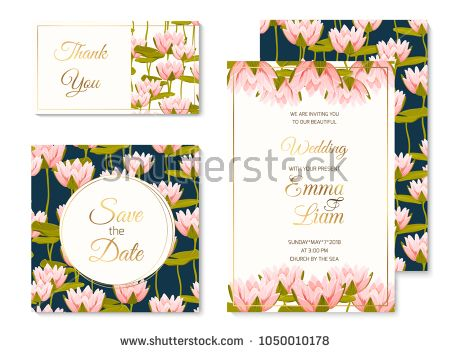 Wedding Marriage Event Invitation Card Template Set Pink Crimson Water Lilly Lotus Floral Wedding Invitation Templates Wedding Invitations Invitation Template