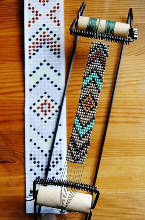 loom beading instructions & DIY Native American belt with classic Eagle motif Mais DIY instructions on how to make a unique, beaded native American belt with… Perle de Jemez Loom Bracelet b BEST tutorial I've seen outlining all the steps needed to use y Seed Bead Patterns, Beaded Jewelry Patterns, Bracelet Patterns, Native Beading Patterns, Weaving Patterns, Stitch Patterns, Native Beadwork, Native American Beadwork, Motifs Perler