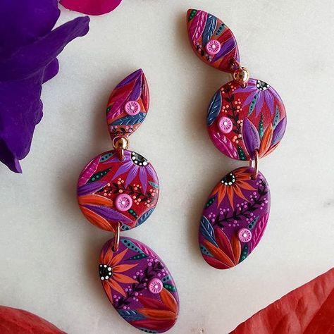 Marble earrings minimal earrings colorful funky polymer clay earrings studs earrings modern earrings orecchini fimo 80s earrings