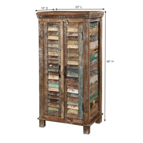 Turquoise Trail 48 2 Door Rustic Shutter Slat Tall Narrow Cabinet In 2020 Rustic Shutters Narrow Cabinet Gorgeous Furniture