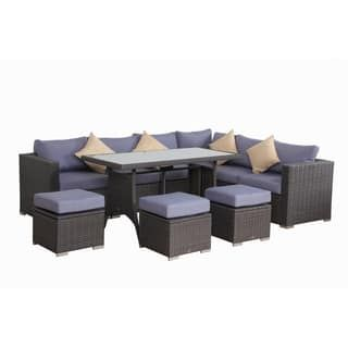 Broyerk Blue Grey Rattan 10 Piece Patio Furniture Set Patio Furniture Deals Patio Furnishings Rattan Outdoor Furniture