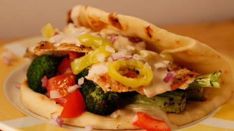 Grilled or Roasted Broccoli and Sliced Chicken Pitas with Tahini Sauce #whatsfordinner #chicken #pitas