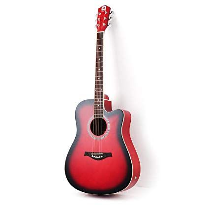 Amazon Com Vangoa 41 Inch Full Size Vg 41ecr Red Acoustic Electric Cutaway Guitar With Guitar Gig Bag Strap Acoustic Electric Guitar Guitar For Beginners