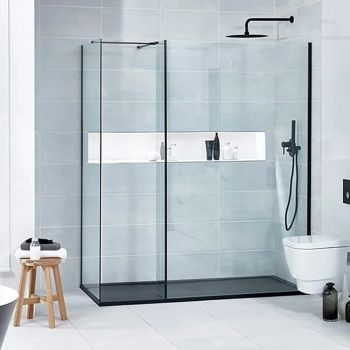Verona Aquaglass Walk In Enclosure 1100mm X 900mm 8mm Be813300 Blk Ben800513bfsblk Ap556 999 Walk In Shower Enclosures Shower Panels Walk In Shower