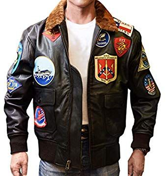 7 Patch Tom Cruise Pete Maverick Top Gun Bomber Jacket w Real Fur Trimmed Collar