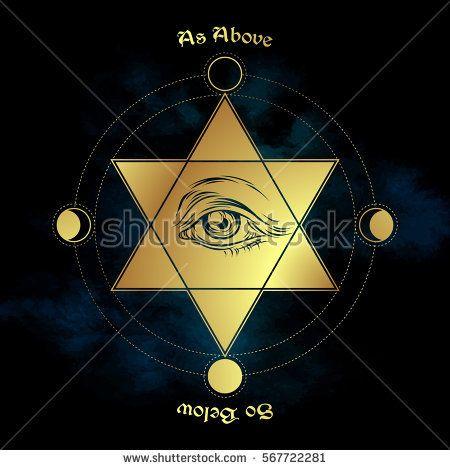 Eye Of Providence In The Center Of The Hexagram As Above So