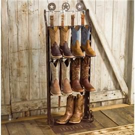 Best idea ever for organizing cowboy boots - and we have a lot of them! I've seen this on a much larger scale, probably held 15 pairs of boots.