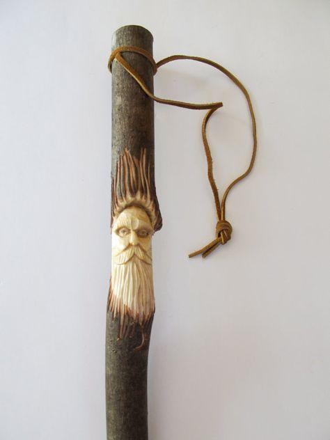 Walking Stick Wood Spirit Hiking Stick Hand by NorthWindCarvings, $33.00