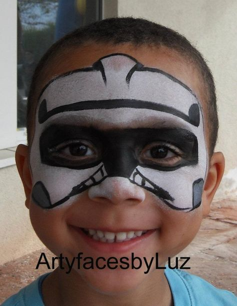 DIY Storm Trooper Face Paint #DIY #FacePainting #Halloween #Costumes #HalloweenCostume #Birthdays #Birthday #Party #Parties #StarWars #Disney