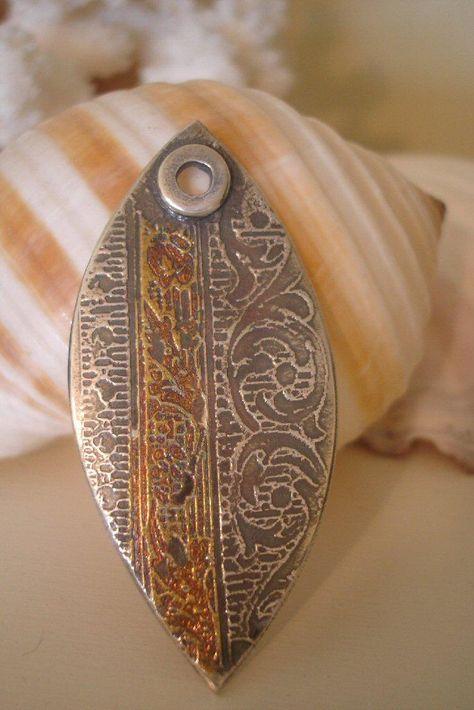 PMC Pendant - Fine Silver and 22k Gold Applique