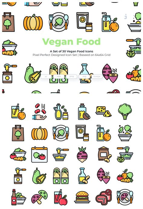 30 Vegan Food Icons AI, EPS