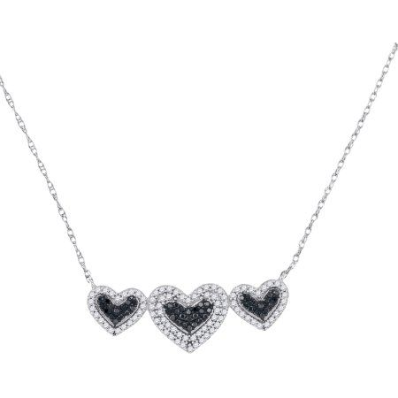 10kt White Gold Womens Round Black Colored Diamond Triple Framed Heart Pendant Necklace Diamond Heart Pendant Necklace Diamond Necklace Heart Pendant Necklace