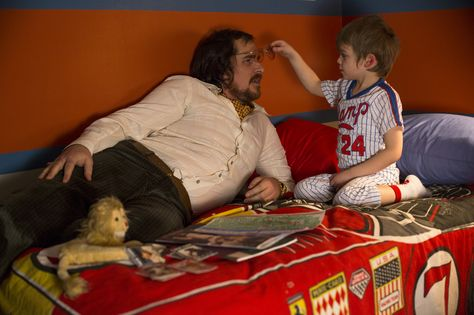 Christian Bale (left) and Dante/Santino Corbo in Columbia Pictures' AMERICAN HUSTLE. Photo by:  Francois Duhamel