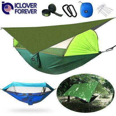 Advertisement Ebay Double Camping Hammock Tent Mosquito Net Waterproof Rainfl In 2020 Camping Hammock Tent Double Camping Hammock Hammock Camping