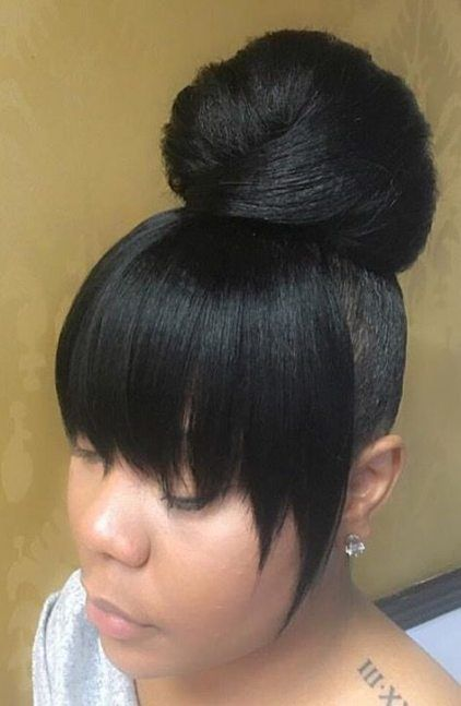 Bun And Bangs Hairstyle With Weave : bangs, hairstyle, weave, Wedding, Makeup, Natural, Black, Women, Ideas, Hairstyles, Weave,, Ponytail, Hairstyles,, Bangs