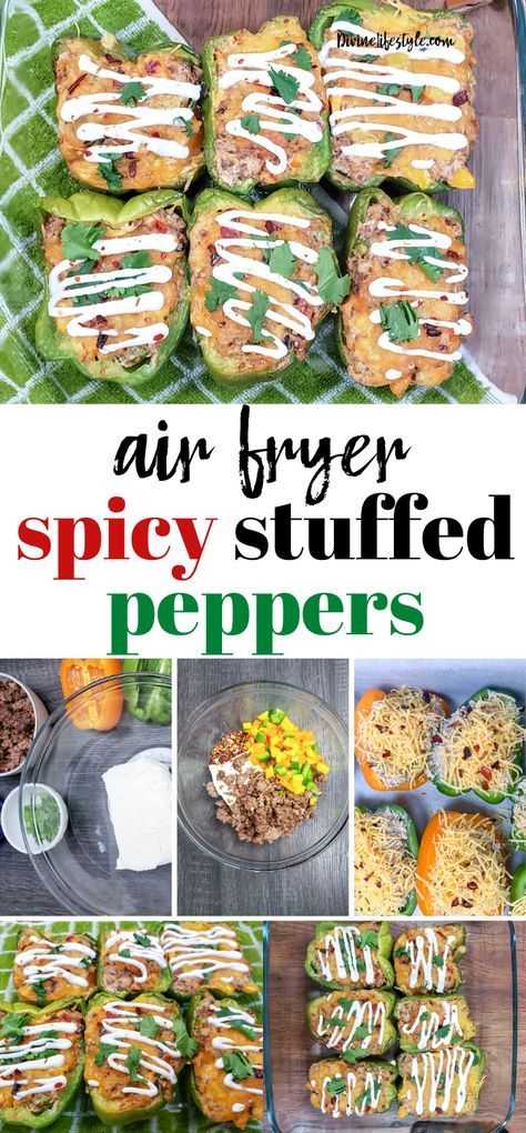 Spicy Stuffed Bell Peppers In Air Fryer Southwest Stuffed Peppers In 2020 Southwest Stuffed Peppers Air Fryer Dinner Recipes Stuffed Peppers
