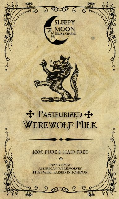 Free Printable Halloween Werewolf Milk Label