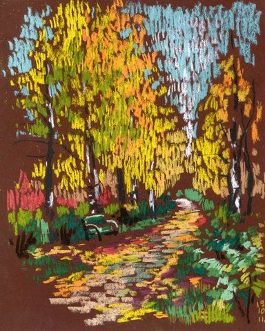chalk pastel on toned paper: warm color study for fall in impressionist style