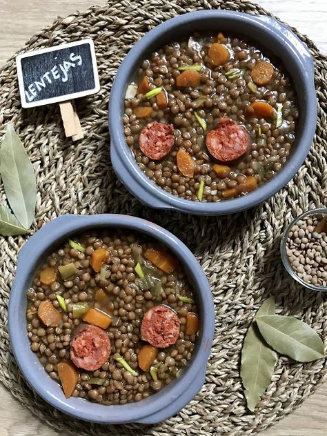 Lentejas Con Chorizo Receta En Crockpot Y En Versión Tradicional Recetas Para Olla De Cocción Lenta Lentejas Guiso De Lentejas