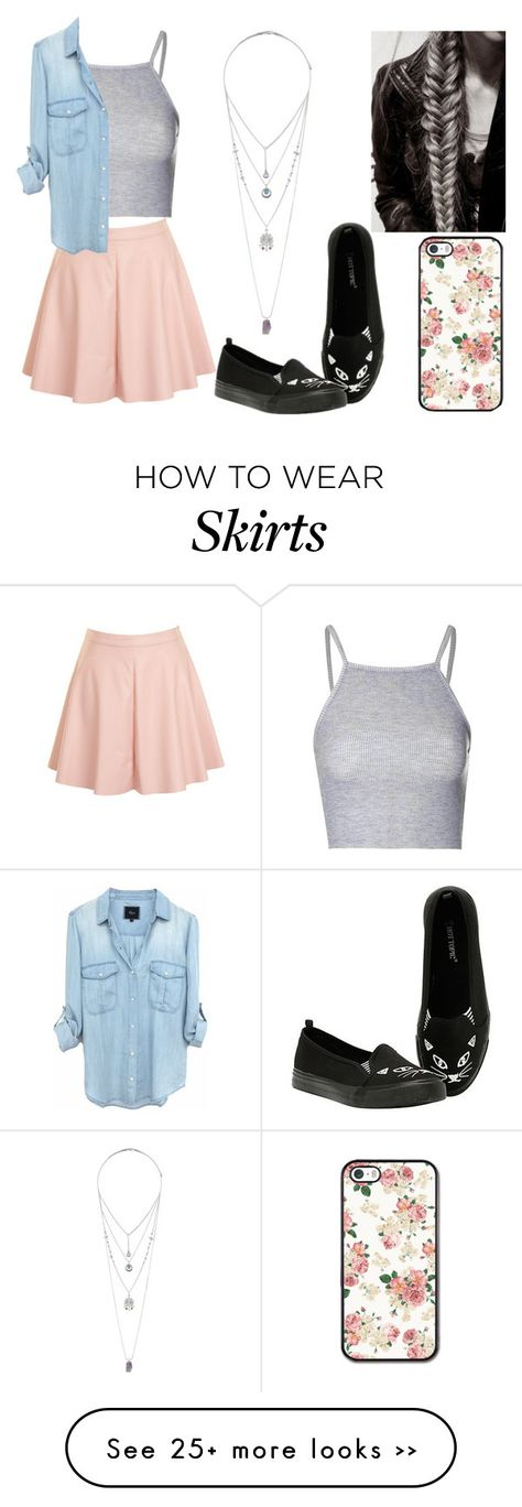 """Peach Skater Skirt"" by larrytattos on Polyvore"