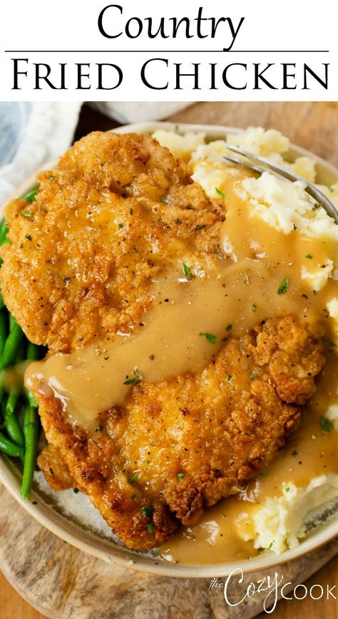 This Southern-style Country Fried Chicken is easy to make with chicken breasts and staple ingredients! Serve it with gravy and mashed potatoes for an old fashioned comfort food that your family will love! #chickenbreastrecipes #chickenrecipes #friedchicken #easydinnerideas #sundaydinnerideas Easy Pasta Recipes, Beef Recipes, Cooking Recipes, Chicken Wing Recipes, Turkey Recipes, Healthy Recipes, Country Fried Chicken, Tapas Dinner, Breakfast Lunch Dinner