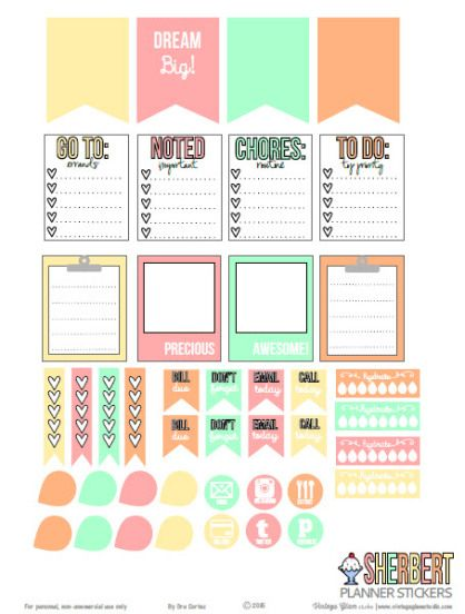 sherbert planner stickers free printable download