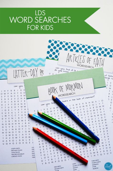 latter-day prophet, book of mormon, and articles of faith word searches for kids - great for general conference, sacrament meeting, family home evening, etc.