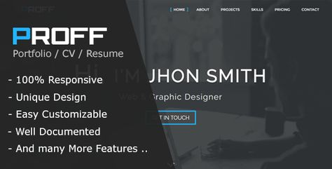 Proff | One Page Personal & Portfolio HTML Template by remonfawzi