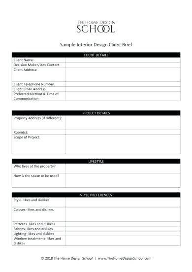 Design Brief Example Interior Design Client Brief Template Example