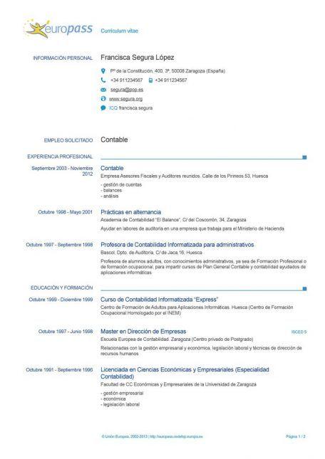 Plantilla De Cv Europass C Para Word Con Imagenes Modelos
