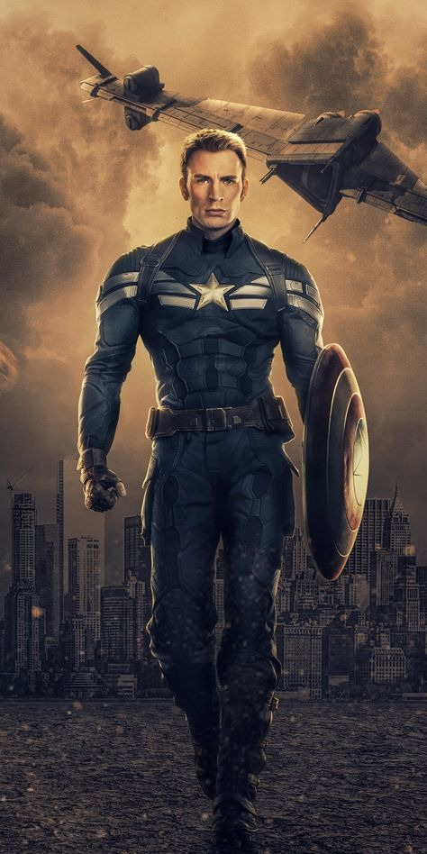 Captain America, Chris Evans, Marvel comics, art, 1080x2160 wallpaper