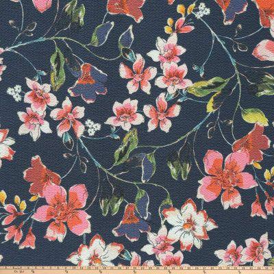 dbbcb722bd48 Preview Textiles Flower Blossom Pebbled Stretch Crepe Floral Navy - Discount  Designer Fabric - Fabric.com