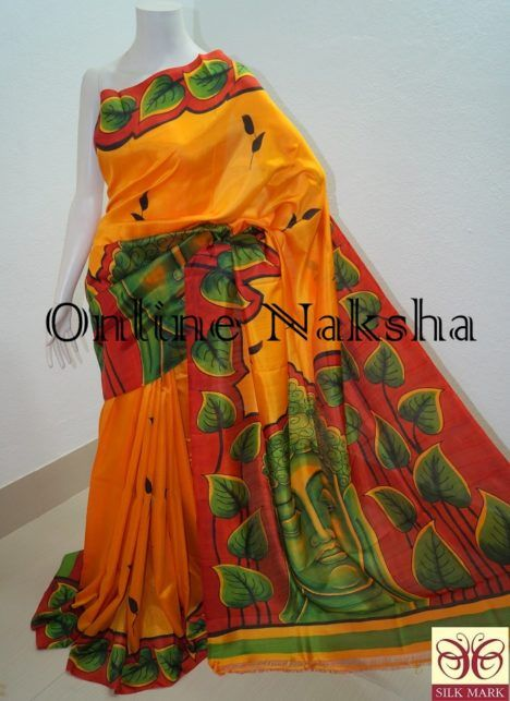 724c529823 Add grace to your wardrobe with latest #Handpainted #Designer #PureSilk # Sari presenting by Online Naksha at reasonable rate. Featured saree woven  of pure ...