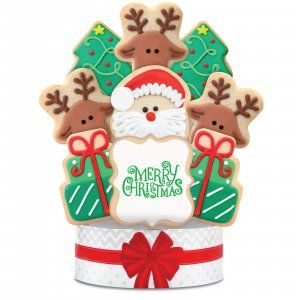 Merry Christmas Cookie Bouquet 9 Cookies Christmas Cookie Bouquet Cookie Bouquet Christmas Cookies