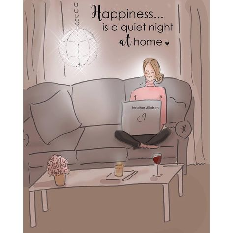Happiness is a quiet night at home...💕 #heatherstillufsen #goodnight #home #pink #happinessquotes