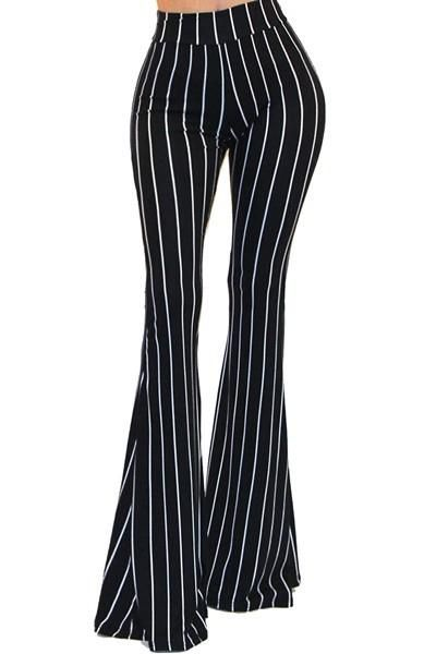 New Womens Black And White Wide Flared Cotton Bellbottoms Striped Flares