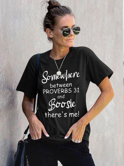Dresswel Women Somewhere Between Proverbs 31 Letter Print Short Sleeve T-Shirt Tops