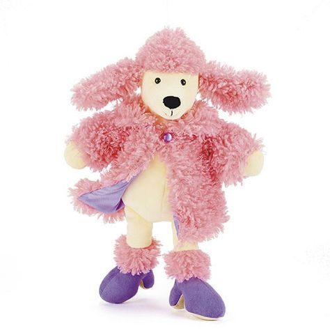 This glamour pup loves her candy-pink coat! Her fancy coat is removable for added fun. Not recommended for children under 12 months due to fibre shedding. Made from 100% polyester. Hand wash only; do not tumble dry, dry clean or iron. Not recommended to clean in a washing machine. The plush, stuffed animal is designed in London, UK and manufactured in China under Jellycat's direct supervision. Dimensions: H 12