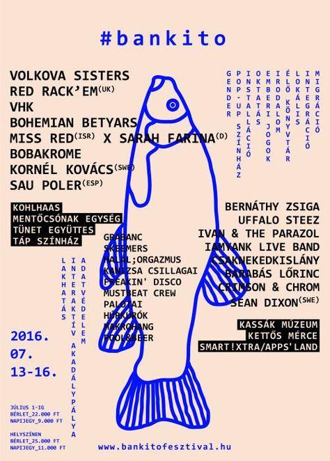 graphisme, illustration hongroise : affiche de festival, 2016, poisson, bleu, animaux marins, 2010s