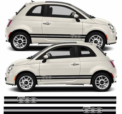 Fiat 500 500c Sport Side Stripes Decals Stickers Quality Hexis