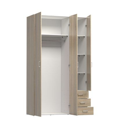 Space 3 Drawer And 3 Door Wardrobe Multiple Finishes Walmart Com Drawers Tvilum Wooden Storage Cabinet
