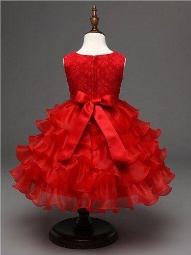 25130473f Vestido Festa Infantil Renda Babado Casamento Daminha Dama - R$ 129 ...