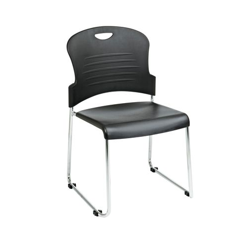Work Smart Stack Chair With Sled Base Set Of 2 Black Office