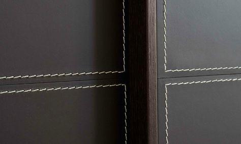 Stitching detail on leather wardrobe doors