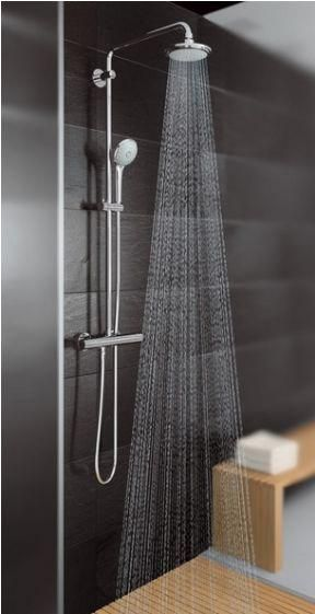 Simple Shower System With Slider And Fixed Head Grohe Euphoria