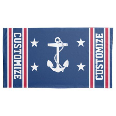 Personalized Red White Blue Nautical Anchor Flag Pillowcase Zazzle Com Nautical Anchor Red White Red White Blue
